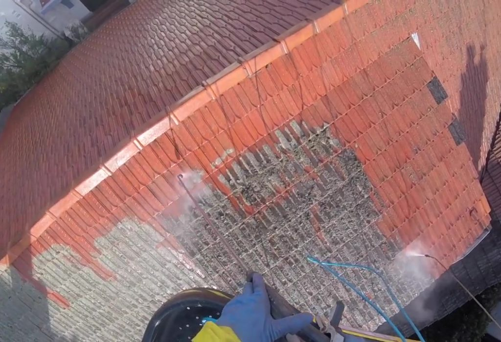 Tiled Roof Clean via Boom Lift
